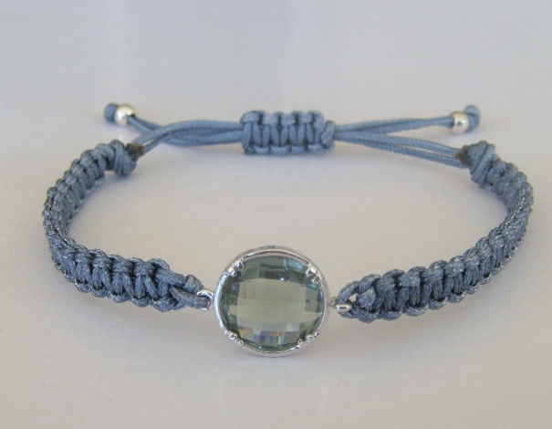 Silver Shadow Grey Gray Macrame Bracelet Faceted Round Crystal Elegant Summer Fashion