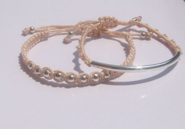 Soft Peach Pastel Beaded Friendship Bracelets Playful Summer Fun SET OF TWO