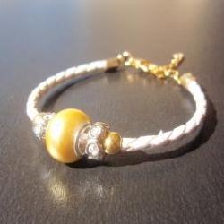 Mellow yellow shell pearl bracelet braided white leather elegant minimal mothers day gift under 30
