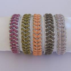 Fashion Braided Silver Chain Bracelet, Suede Cord in olive, peach, violet, dove grey, or lavender CHOOSE your color