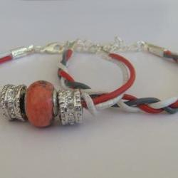 Cosy line beaded and braided bracelets, red and white, set of 2, european gemstone bead