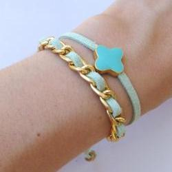 Gold chain double wrap summer bracelet in mint green turquoise crosslet